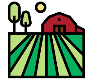 Farm fields and barn